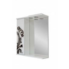 Дзеркало 0160 з шафкою 60см біло-чорна кування ліве